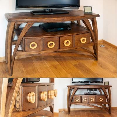 artstyczne meble stolik drewniany rtv #2074