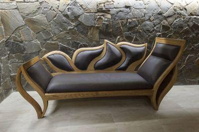 drewniana dębowa unikatowa sofa szezlong #2082