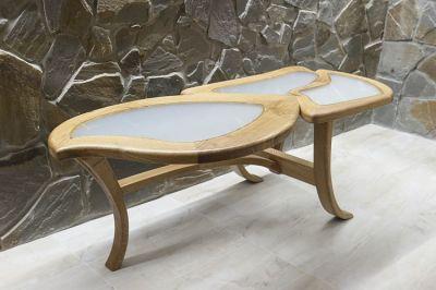 drewniany dębowy stolik ława szklany blat #2083