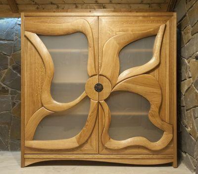 dębowa drewniana witryna meble drewniane #2089