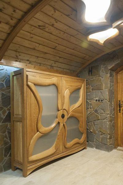meble drewniana artystyczna szafka witryna z szklem #2089