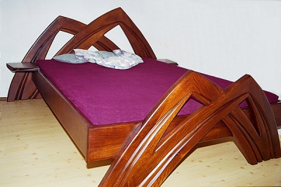 Meble z drewna lozko artystyczne unikatowe do sypialni debowe na wymiar. #3022