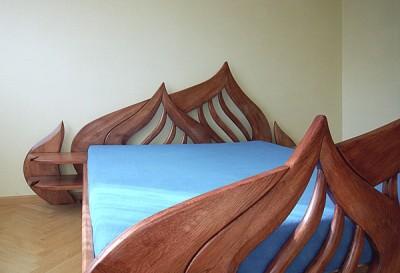 Meble z drewna unikatowe dizajnerskie artystyczne lozko debowe do sypialni. #3101a