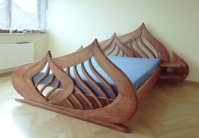Meble drewniane unikatowe dizajnerskie artystyczne lozko debowe do sypialni, projekt autorski. #3101