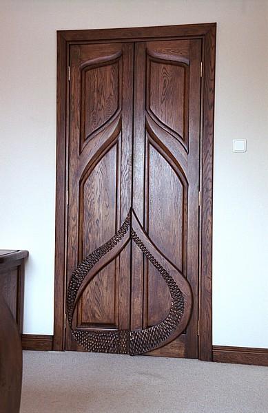 Meble z drewna do sypialni drzwi do garderoby projekt autorski. #3103