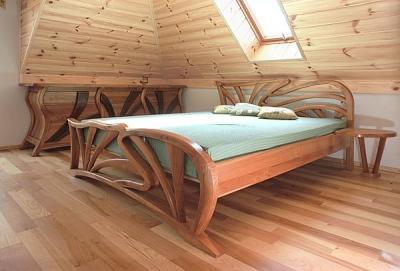 Meble drewniane unikatowe artystyczne lozko do sypialni z drewna czeresni na wymiar, projekt autorski. #3121