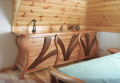 Meble drewniane artystyczne unikatowe na wymiar komoda z drewna do sypialni, projekt autorski. #3122