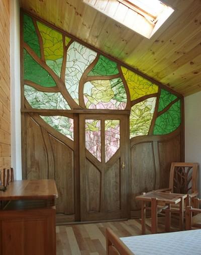 Meble z drewna unikatowa ścianka działowa do sypialni witraż artystyczny na zamówienie. #3141