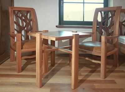 Meble drewniane artystyczne fotela unikatowy stolik na wymiar autorskie. #3144