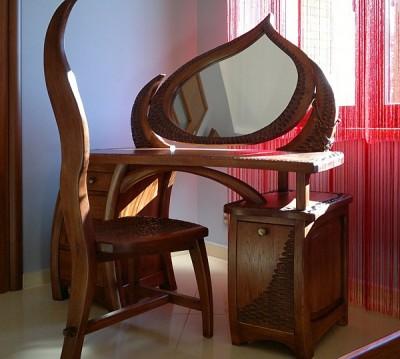 Meble drewniane unikatowa autorska artystyczna toaletka do sypialni na wymiar. #3155