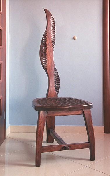 Kryeslo drewniane debowe artystyczne unikatowe dizajnerskie. #3157