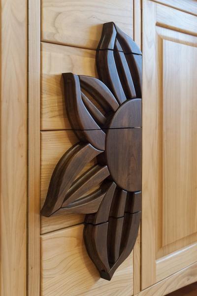 dębowy detal drewnianej komody na wymiar #3185