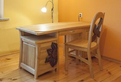 drewniane dębowe biurko z krzesłem #31891