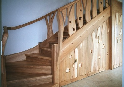 schody drewniane zabiegowe unikatowe z zabudową #5091