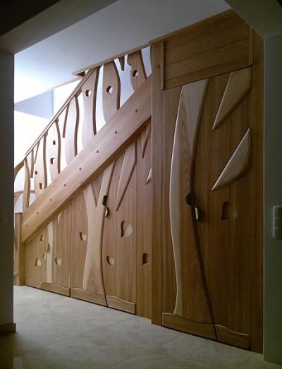 Schody drewniane unikatowe na wymiar dębowa zabudowa pod schodami dizajnerska. #5096