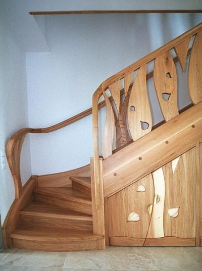schody unikatowe z drewna dębowego i jesionowego #5092
