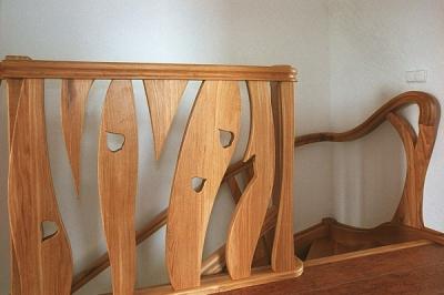 schody drewniane na wymiar artystyczna barierka dębowa. #5095