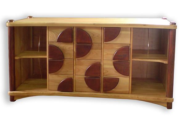 6081 - Meble drewniane artystyczne unikatowe oryginalne, szafka rtv na winyle, na wymiar.