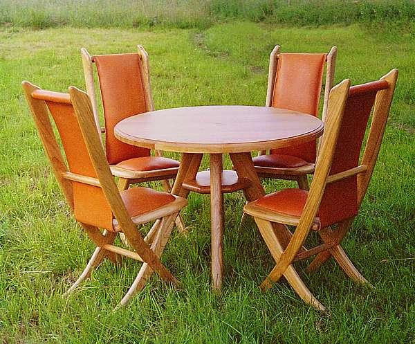 6091 - Meble drewniane unikatowe stół i krzesła z drewna czereśni.