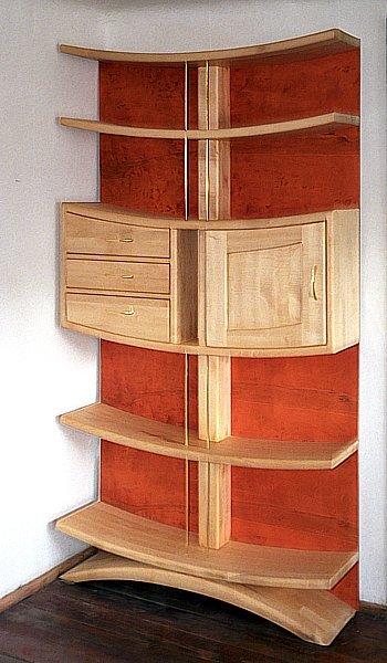 Regał drewniany unikatowy artystyczny z sekretarzykiem autorski oryginalny. #6101