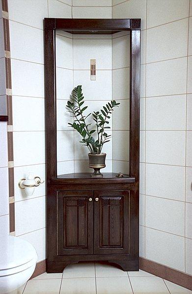 Meble drewniane oryginalne do łazienki witryan artystyczna. #6161