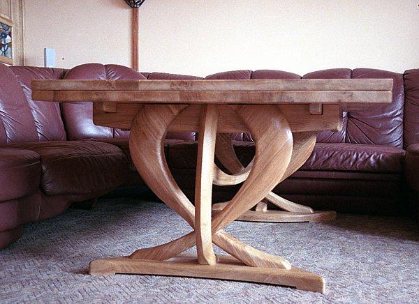 6172 - meble drewniane dębowa rozkładana ława do salonu projekt autorski unikatowy oryginalny.