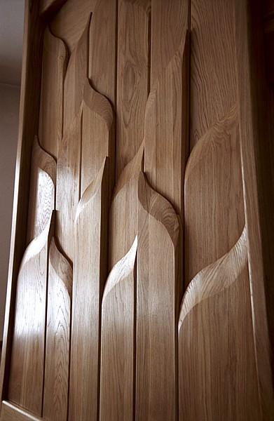 6182 - Meble drewniane artystyczne unikatowe, dębowa obudowa kominka projekt autorski.