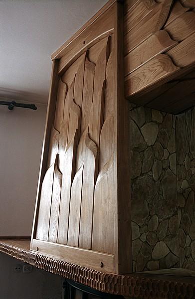 Meble z drewna artystyczne autorskie dizajnerskie dębowa obudowa kominka. #6181