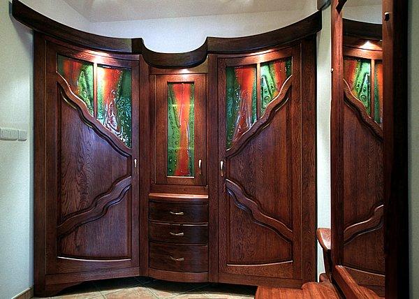 6191 - Meble drewniane unikatowe, szafa dębowa artystyczna na wymiar.