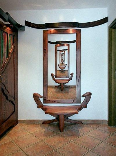 Meble z drewna artystyczna rama lustra unikatowa do przedpokoju. #6192