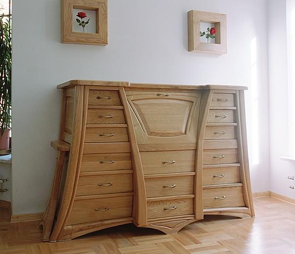 6211 - Meble z drewna unikatowe do salonu, dębowa komoda oryginalna z wysuwanym blatem na wymiar.