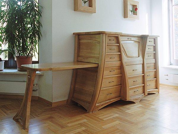 6212 - Meble drewniane ekskluzywnae unikatowe, dębowa komoda dizajnerska z wysuwanym blatem.