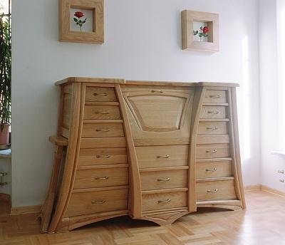 Komoda z drewna unikatowe do salonu, dębowa oryginalna z wysuwanym blatem na wymiar. #6211