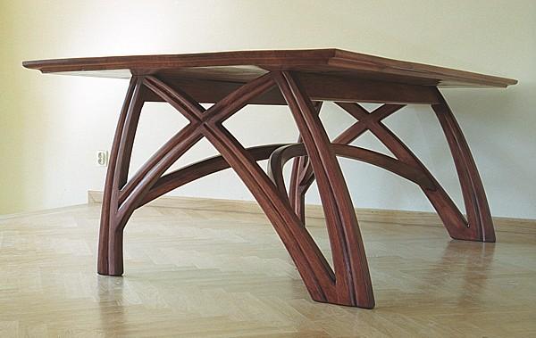 6221 - Meble z drewna stół dębowy do salonu unikatowy artystyczny na wymiar dizajnerski.