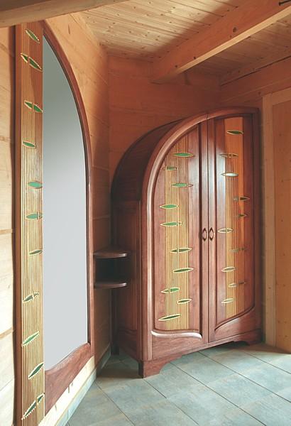 6272 - Meble z drewna do przedpokoju szafa lustro unikatowe artystyczne projekt autorski.