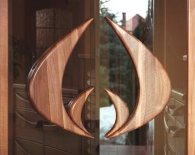 Drzwi z drewna artystyczne na wymiar, unikatowe szklane do przedpokoju, uchwyt. #6282