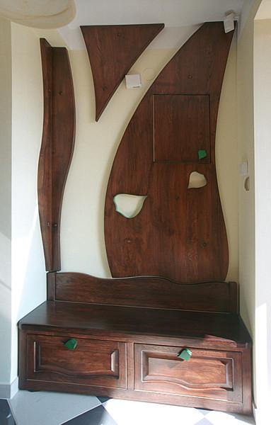 6292 - Meble z drewna unikatowa szafka na buty z drewna dębowego na wymiar, do przedpokoju.
