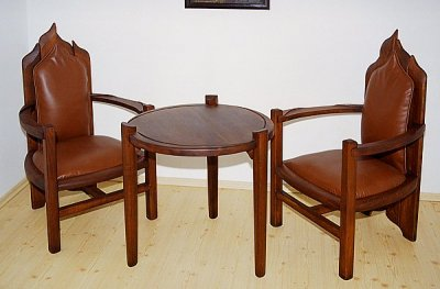 fotele drewniane tapicerowane artystycznel. #6331