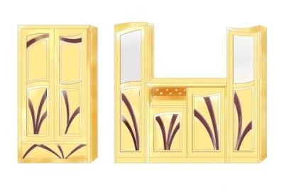 Projekt mebli drewnianych pokojowych witryna i komoda na wymiar.