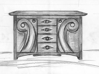 Meble z drewna projekt komody dębowej unikatowy.