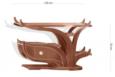 Meble drewniane unikatowe projekt szafki rtv - v3.