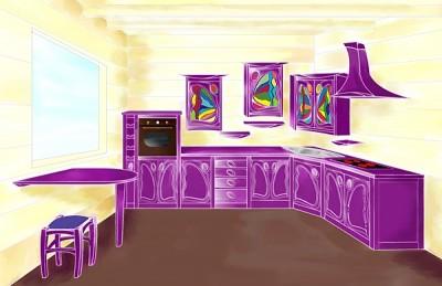 Projekt rysunek dizajnerskich mebli drewnianych do kuchni unikatowy.