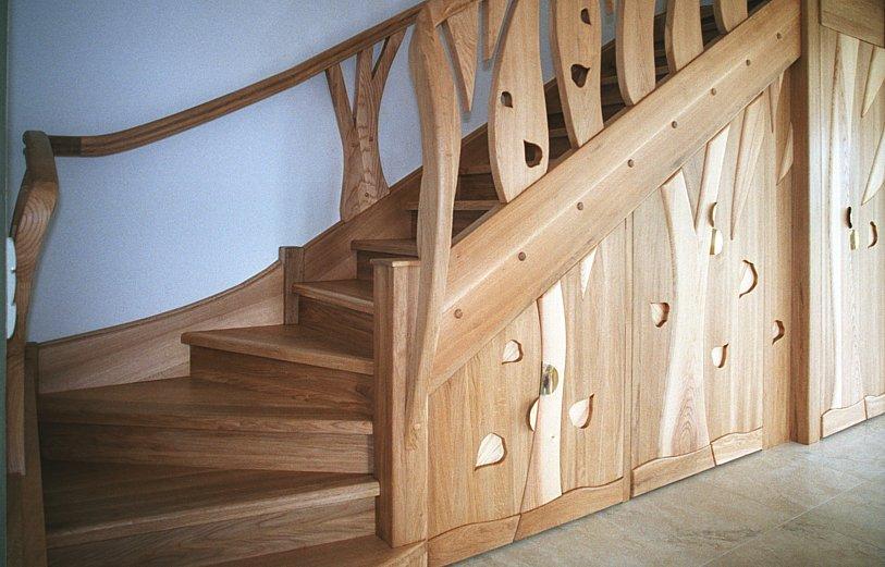 schody drewniane dębowe, zabudowa pod schodami, brzeziniak