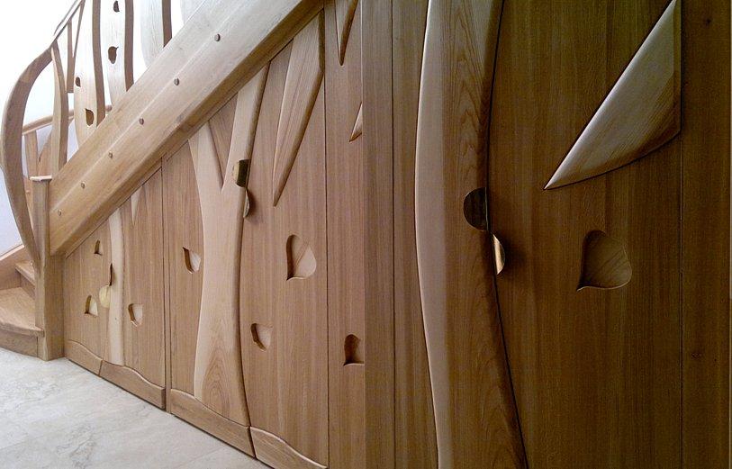 zabudowa pod schodami, brzeziniak, schody drewniane dębowe